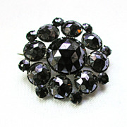 SALE Victorian Gunmetal Faceted Jet Mourning Brooch