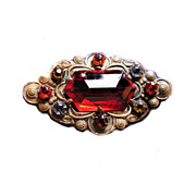 1920s Deco Red Glass and Paste Stones Brooch