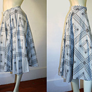 50's Black White and Gray Polka Dot Circle Skirt XS