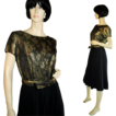 60's Metallic Gold Brocade and Black Chiffon Cocktail Dress M