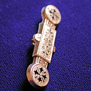 Large Georgian Victorian Engraved Gold and Jet Bar Pin Pendant