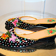 60's NOS Hong Kong Fancy Beaded Slippers Mules 7
