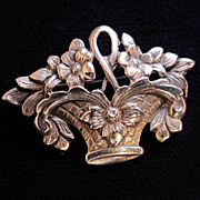 Sweet Rare Small Cini Sterling Basket of Flowers Brooch