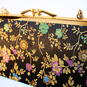 60's Iridescent Black Silk Floral Brocade Bag