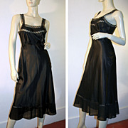 Silky Black Nylon 40's Barbizon Camilee Slip S