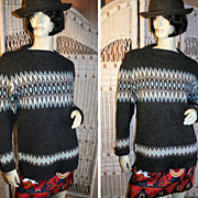 60's Scandinavian Wool Knit Ski Sweater L