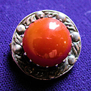 Victorian Sterling Carnelian Brooch Scottish Hallmarks