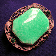 1920s Green Czech Glass Deco Brooch