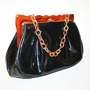 Fabulous 50's Black Purse with Rootbeer Lucite Frame and Chain