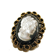 Vintage Hematite Glass Cameo Pin