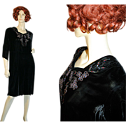 1940's Vintage Black Velvet Beaded Dress L