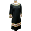 Mr Dino Black Mod 60's Dress with Flowers M