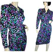 80's Vintage Maggie London Black Jewel Tone Print Silk Dress S