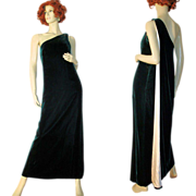 Grecian Goddess 60's Dark Green Velvet One Shoulder Gown S