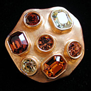 80's Chunky Modernist Gold Tone Rhinestone Brooch