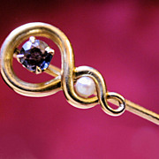 Victorian 14K Gold Pearl and Amethyst Stick Pin
