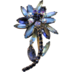 Gorgeous Dark and Light Blue Rhinestone Flower Brooch