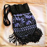 Victorian Black Blue Leaf Pattern Micro Beaded Drawstring Bag