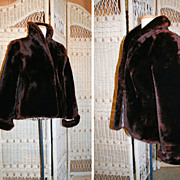 50's Mouton Lamb Fur Jacket Red Brown S