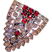 20s Art Deco Red and White Rhinestone Clip