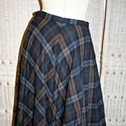 B.H. Wragge 1950's Charcoal Wool Plaid Circle Skirt S