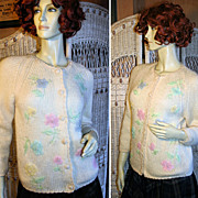 1960's Evan Picone Mohair Blend Beaded Cardigan S