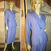 Impeccable 40's Handmacher Lilac Twill Skirt Suit M