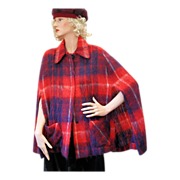 60s Glenn Cree Red Blue Plaid Mohair Scottish Wool Cape