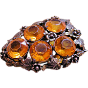 Art Nouveau Citrine Jeweled Dress Clip