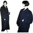 80's Escada Navy Wool Angora Cashgora Long Coat L XL Tall
