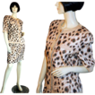 Louis Feraud 80's Metallic Leopard Linen Skirt Suit M