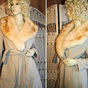 70's Wrap Belted Coat Big Faux Fox Collar S