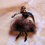 50's African American Ballerina Brooch with Real Mink Fur Skirt