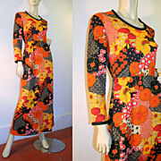 70's Orange Black Floral Maxi Dress S