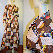 70's Maxi Dress Brown Gold Metallic Patchwork M Tall