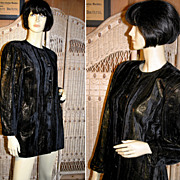 80's Escada Black Gold Velvet Jacket or Mini Dress M