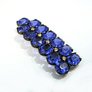 20s Deco Blue Rhinestone Double Bar Brooch