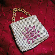 1920s Jemco Painted Flower Metal Mesh Purse Celluloid Chain Handle