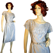 Silver Blue Silk Beaded Cocktail Dress S/M worn at the White House