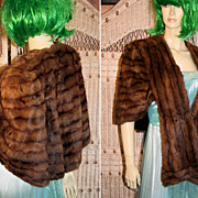40's Mink Fur Stole Soft Red Brown Cape Jacket