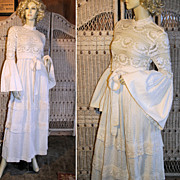 70s Bohemian Cochet Lace Wedding Dress Bell Sleeves S