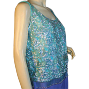 60's Sequin Top Aqua Blue Beaded Wool Sweater Tank M