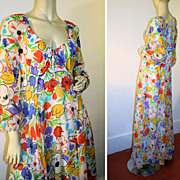 70's Lanz Dress Chiffon Floral Maxi Bright Crayola Crayon Colors S/M
