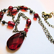 Vintage Lia Sophia Red Glass Pendant Chain Necklace
