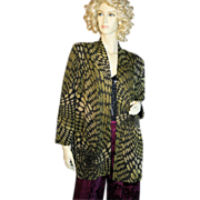 Black and Gold Python Print Jacket Slinky Metallic Knit Jersey S/M