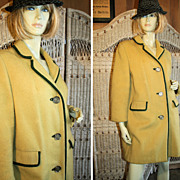60s Austrian Loden Coat Mustard Wool Green Trim M