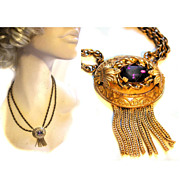 Victorian Revival Amethyst Glass Festoon Necklace