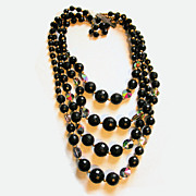 60s Four Strand Black Bead Necklace with Aurora Borealis Crystals