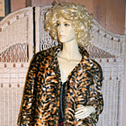 60s Leopard Fabric Swing Coat S/M