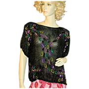 80s Sequin Black Silk Beaded India Top Jasmine M